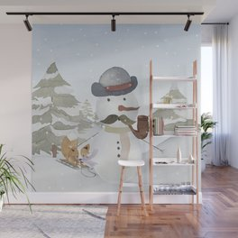 Winter Wonderland - Funny Snowman and friends - Watercolor illustration III Wall Mural