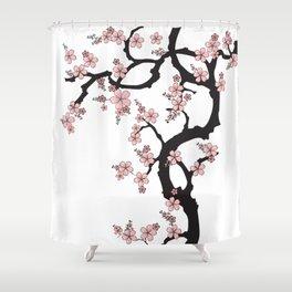 White sakura - Japanese Kimono design Shower Curtain