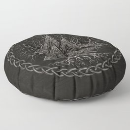 Valknut and Tree of Life Yggdrasil Floor Pillow
