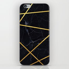 Black marble with gold lines iPhone Skin