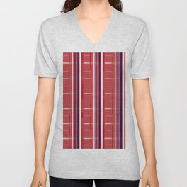 Red, White & Blue on Red Background (striped / semi-checkered) Unisex V-Neck