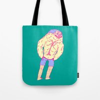 muscle Tote Bags featuring Muscle Butt by Mike Bauer