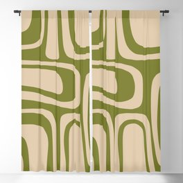 Palm Springs - Midcentury Modern Retro Pattern in Mid Mod Beige and Olive Green Blackout Curtain