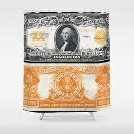 1922 US 20 Dollar Bill Gold Certificate Wall Art Shower Curtain
