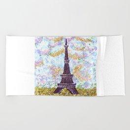 Eiffel Tower Pointillism by Kristie Hubler Beach Towel