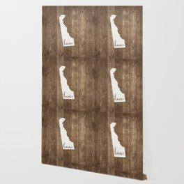 Delaware is Home - White on Wood Wallpaper