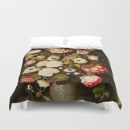 """Osias Beert """"Vase of flowers in a stone niche"""" Duvet Cover"""
