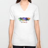 edinburgh V-neck T-shirts featuring Edinburgh skyline in watercolor by Paulrommer