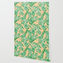 Tropical Monstera Hibiscus Botanical Pattern Green Coral Peach Wallpaper