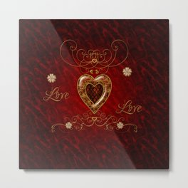 Wonderful hearts with floral elemetns, gold, red Metal Print
