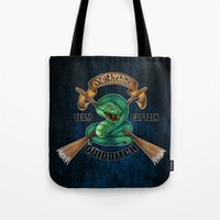 quidditch Tote Bags featuring Slytherine quidditch team captain by JanaProject