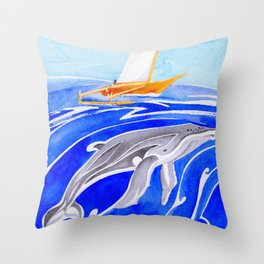 humpback whale and polynesian outrigger sail boat Throw Pillow