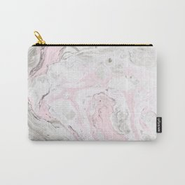 Peaceful Pink Gold & Gray Marble Print Carry-All Pouch