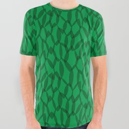 Overlapping Leaves - Dark Green All Over Graphic Tee