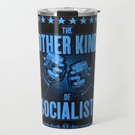 "Vintage Poster ""The Other Kind of Socialist"" Alcoholic Lithograph Advertisement in dark blue Travel Mug"