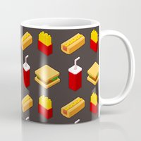 junk food Mugs featuring Isometric junk food pattern by Irmirx