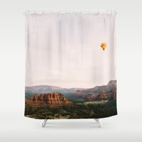 hot air balloon Shower Curtains featuring Hot Air Balloon #1 by Alden Terry