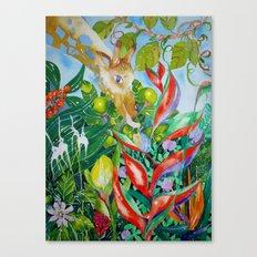 Giraffe meets snail Canvas Print