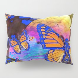 SURREAL BLUE  MONARCH BUTTERFLIES & IRIDESCENT BUBBLES  ART Pillow Sham