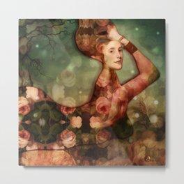 Mermaid among flowers Metal Print