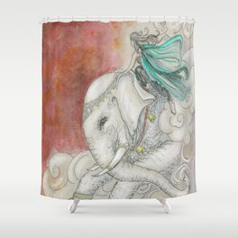 Climbing Ganesha Shower Curtain