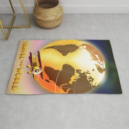 Travel The World Vintage style travel poster Rug