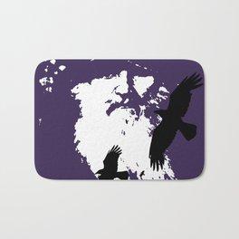 Odin Portrait and Silhouette of Ravens Vector Art Bath Mat