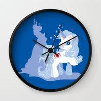 the last unicorn Wall Clocks featuring My Little Last Unicorn by Ashley Hay