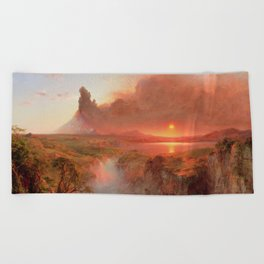 Ecuadorian Andes at Sunset, Cotopaxi volcano plains landscape painting by Frederic Edwin Church Beach Towel