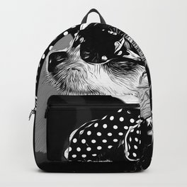 classy chihuahua dog lady vector art black white Backpack