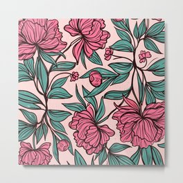 Background of hand drawn flowers and leaves Metal Print