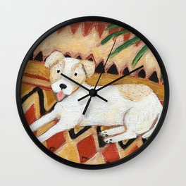 Jack Russel Terrier on Aztec rug painting Wall Clock