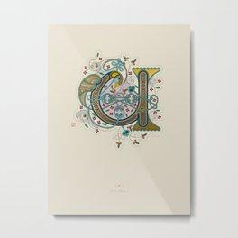 Celtic Initial U Metal Print