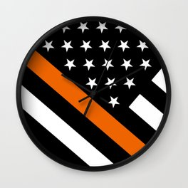 Search & Rescue: Black Flag & Thin Orange Wall Clock