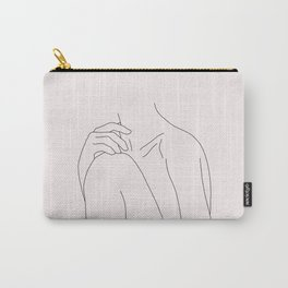 Nude figure line drawing illustration - Cathy Natural Carry-All Pouch
