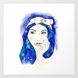 Blue Hair Don't Care Art Print