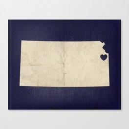 Kansas City, Kansas Love Map Art Canvas Print