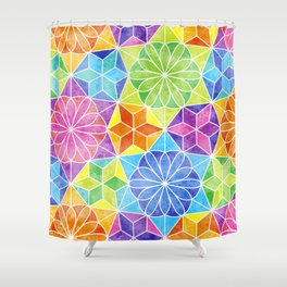 Rainbow mandala kaleidoscope Shower Curtain