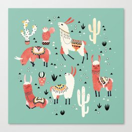Llamas and cactus in a pot on green Canvas Print