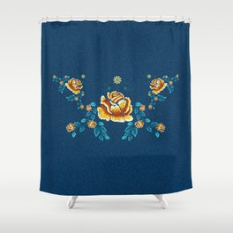Yellow Embroidery Rose Shower Curtain