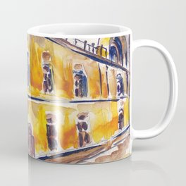 Lonely yellow house. Urban landscape watercolor drawing Coffee Mug