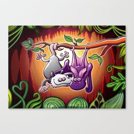 Opossum and Bat in Love Canvas Print