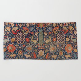 17th Century Persian Rug Print with Animals Beach Towel