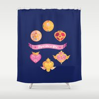 magical girl Shower Curtains featuring Fight Like A (Magical) Girl by fabs