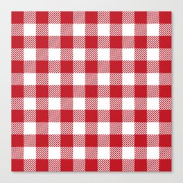 Buffalo Plaid - Red & White Canvas Print