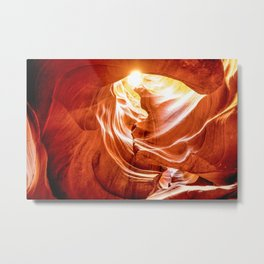 Tunnel of Light - Sun Peeks Through in Antelope Canyon Arizona Metal Print