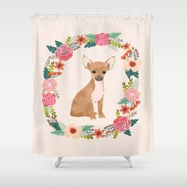 chihuahua floral wreath flowers dog breed gifts Shower Curtain