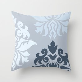 Ornate Damask Art I – Blues (A) Throw Pillow