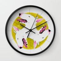 bull terrier Wall Clocks featuring Bull Terrier by Erin Shea