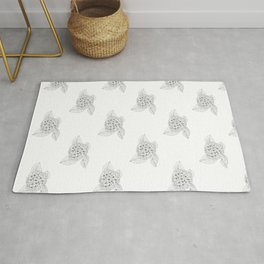 Snowy And Black Vintage Floral Illustration Of Hydrangea Flowers Rug